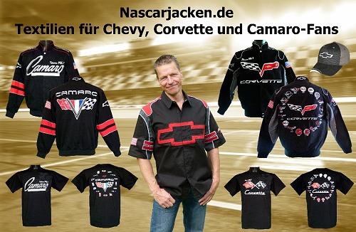 Nascarjacken.de, Chevrolet, Corvette, Camaro, Jacken, Hemden, T-Shirts und Basecaps. Original und lizenzierte US-Importe.
