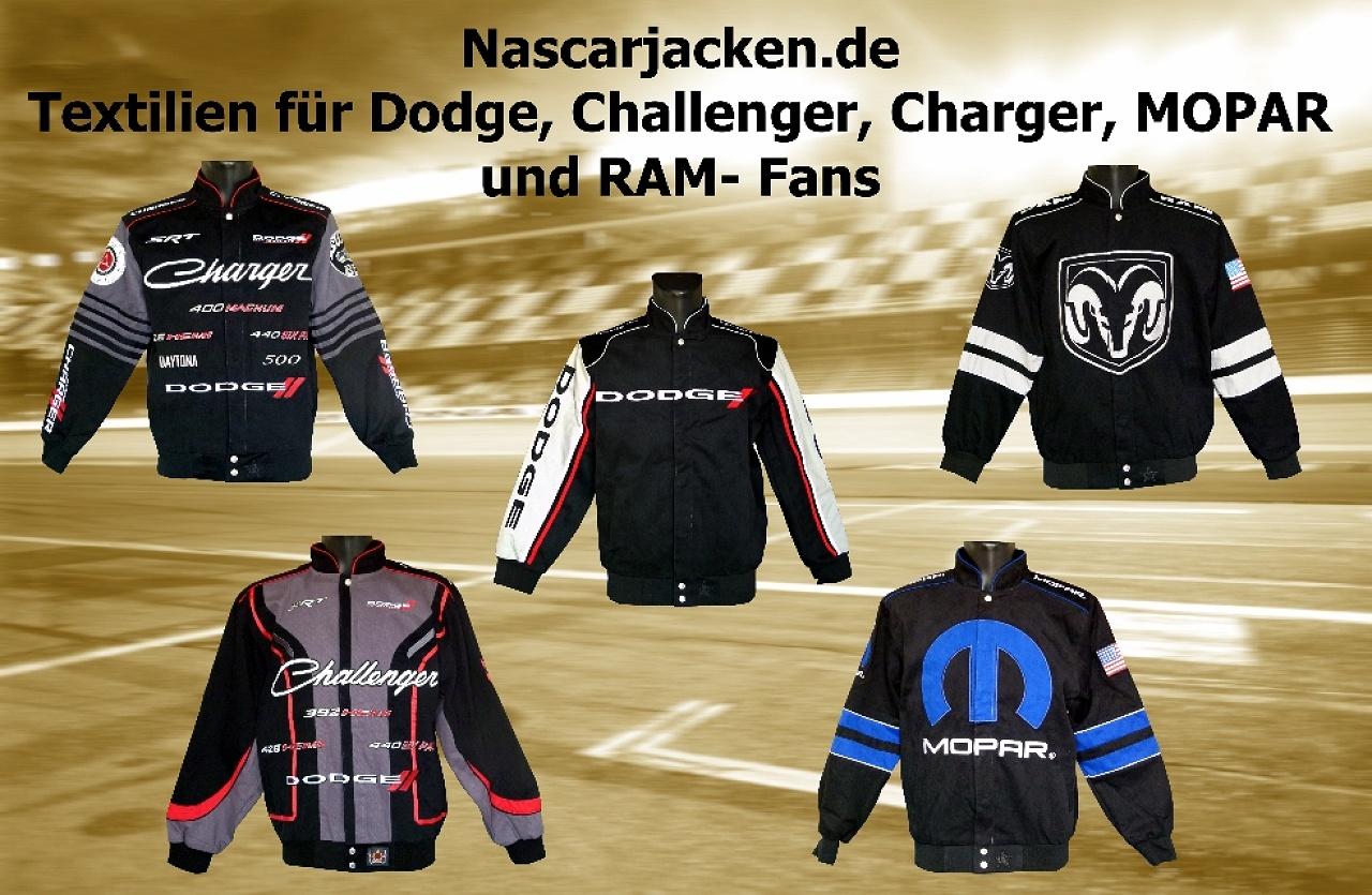 Nascar.de, Dodge, Challenger, Charger, RAM, Mopar, Jacken, Hemden, T-Shirts, Caps. Original und lizenzierte US-Importe