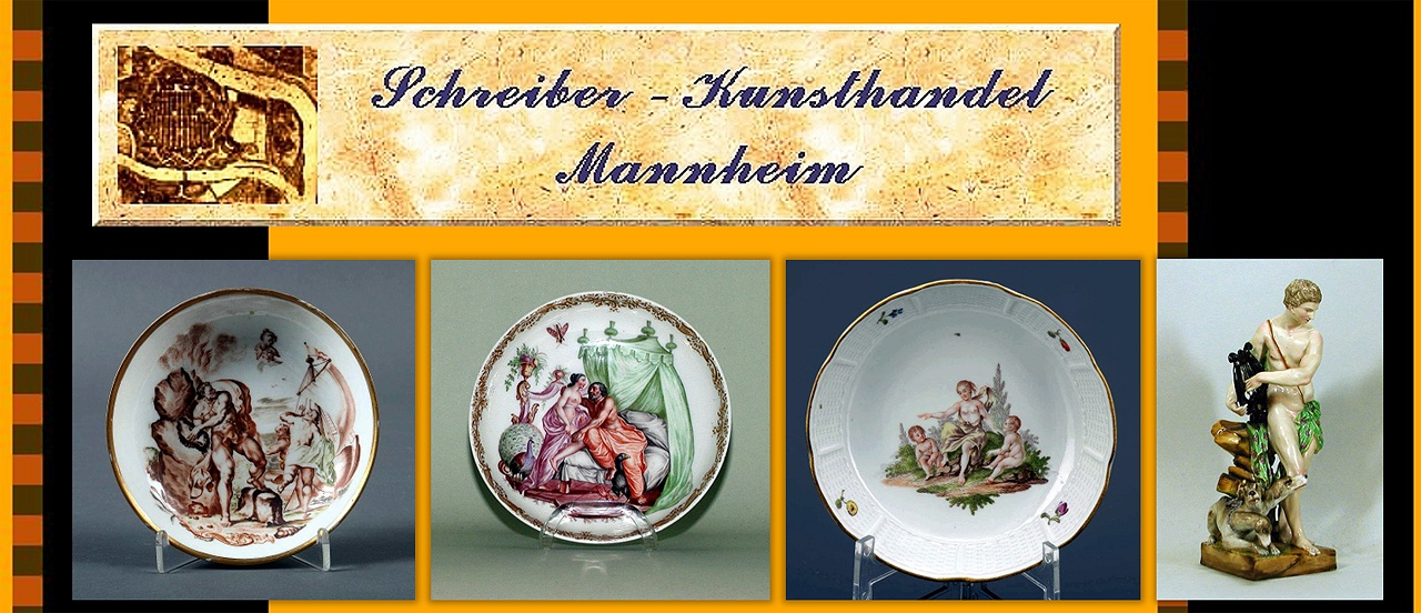 Untertasse Porzellan Meißen und Schale mit Hausmalerei , Götterfigur Ludwigsburg um 1770, Schale mit mythologischer Szene