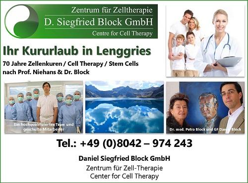 Zellentherapie Dr. Siegfried Block Lenggries Kurklinik, Zellenkur Deutschland