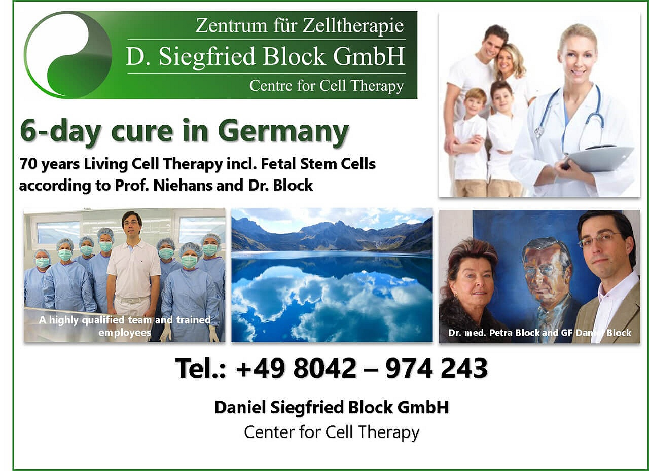 Dr. Niehans living cell therapy, cell therapy Germany, embryonic stem cell therapy Dr. Siegfried Block