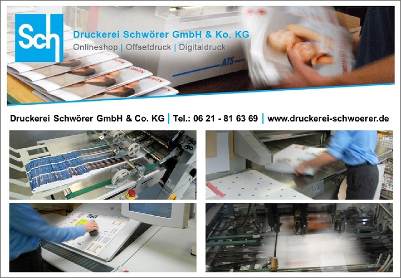 Druckerei Schwörer, Broschüre, Plakate, Folder, Flyer günstig drucken, Hochwertiger Offsetdruck, Mannheim Neckarau, Heidelberg