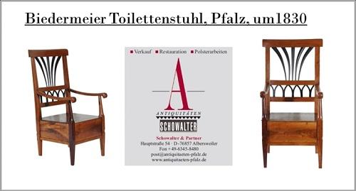 Auf dem Bild sehen Sie: Biedermeier Toilettenstuhl, Weingarten, Pfalz, um 1830