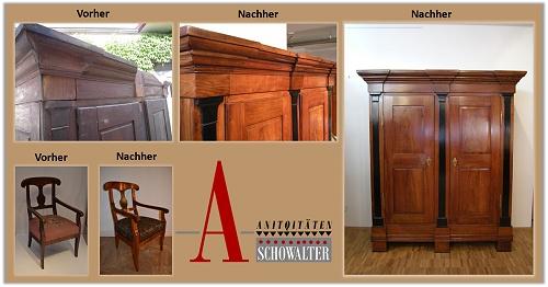 Restaurierung von Antiken Möbeln, vorher-nachher Bilder. Antiquitäten Schowalter